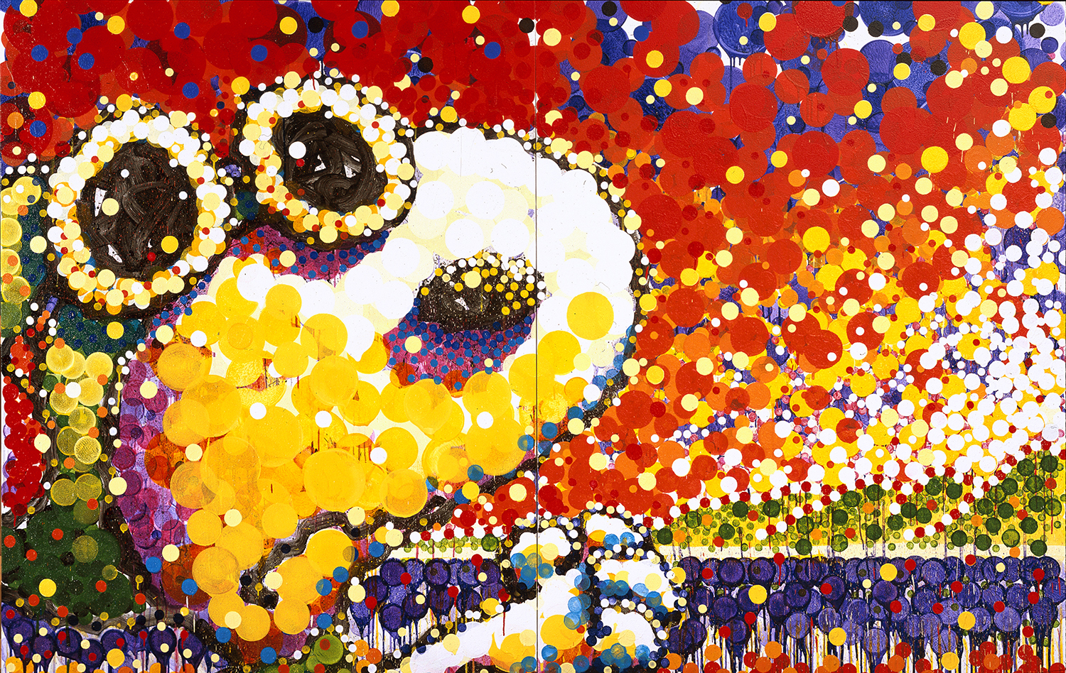 Attack Of The Conference Call | acrylic enamel and varnish on canvas | 84″ x 128″ | 2003
