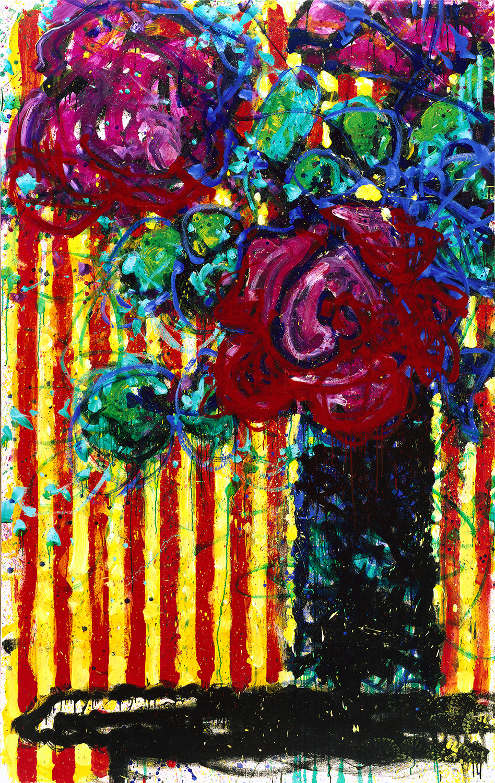 Still Life From A 6-21-82 Cartoon Life | mixed media on canvas | 102″ x 64″ | 1997