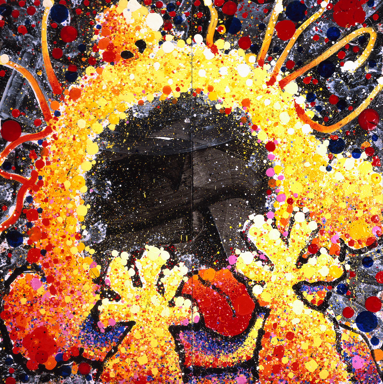 Black Velvet Scream | acrylic, enamel and varnish on wood | 96″ x 96″ | 2001