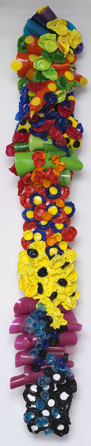 Medal Of Free Dumb   acrylic enamel varnish and plastic cups on wood   104″ x 18″ x 16″    2008