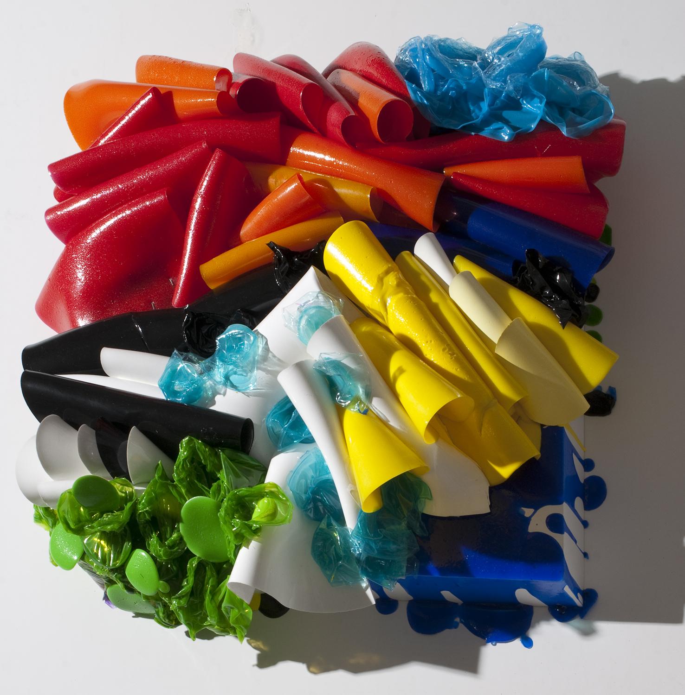 Dog House   acrylic enamel varnish and plastic cups on wood   36″ x 36″ x 12″   2009