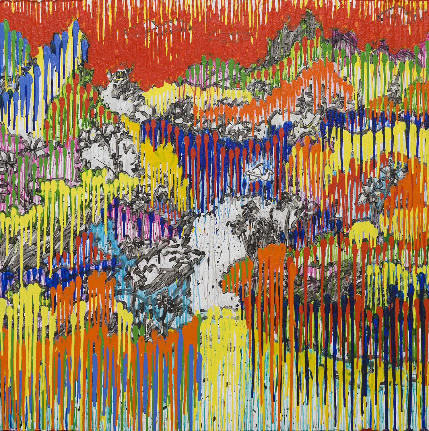 Ancient Chinese Secret–Day (Taha'a)   acrylic and varnish on wood panel   64″ x 164″   2010-2013
