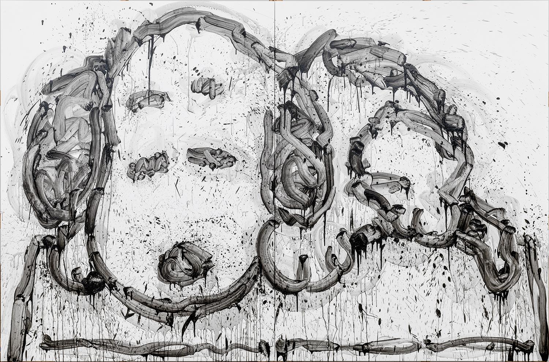 "My Crib   acrylic and varnish on canvas   84″ x 128″ (2 panels each panel 84"" x 64"")   2013"