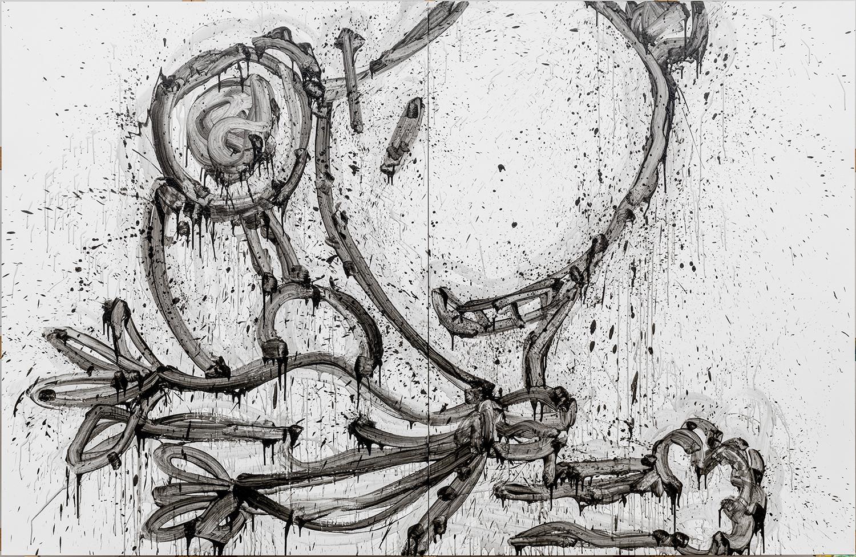 "My Homie Ace   acrylic and varnish on canvas   84″ x 128″ (2 panels each panel 96"" x 64"")   2013"