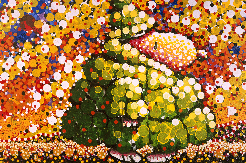 Puff Doggy Dog | acrylic enamel and varnish on canvas | 84″ x 128″ | 2000