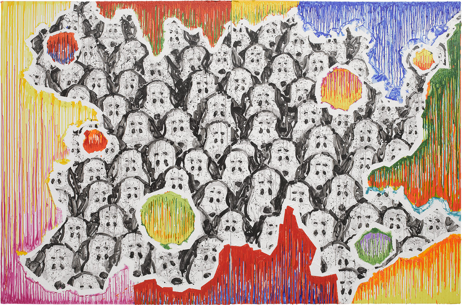 College Dogs Gone Wild (Arty-Fact 01) | acrylic and varnish on canvas | 84″ x 128″ | 2011