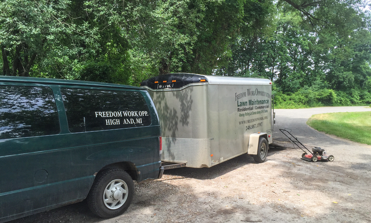 freedom work opportunities van and gear trailer at haven hill gate house