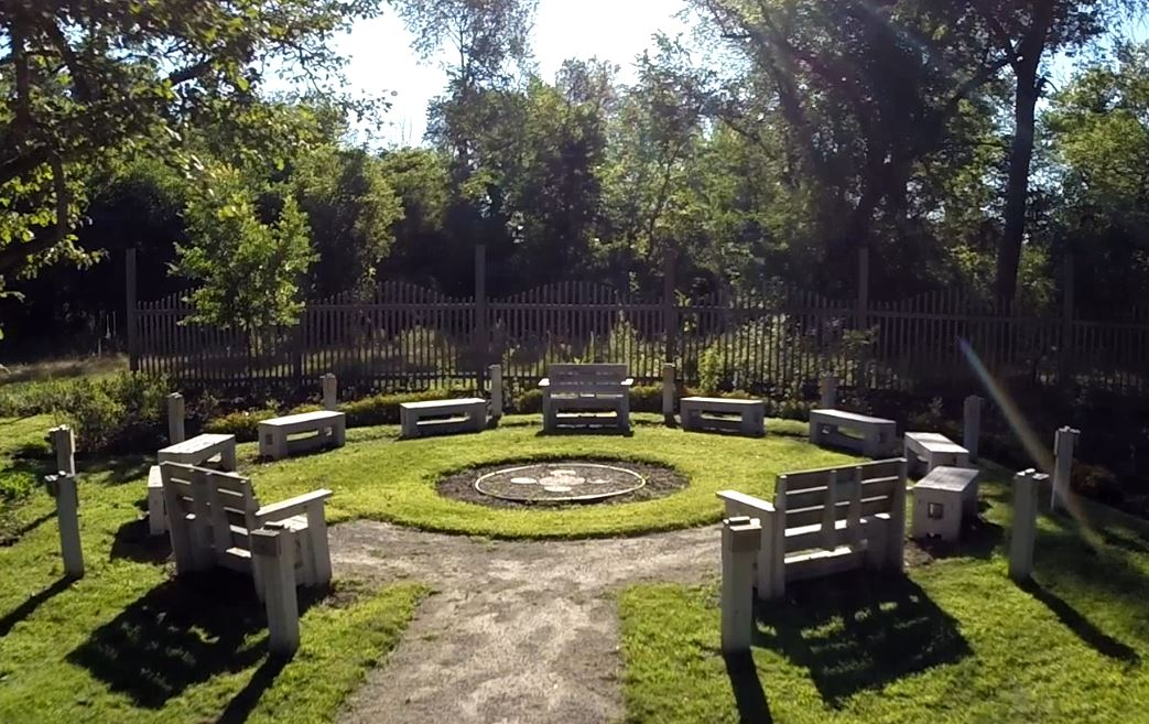 The Jens Jensen conversation ring at haven hill. site of the fohra brick fundraiser