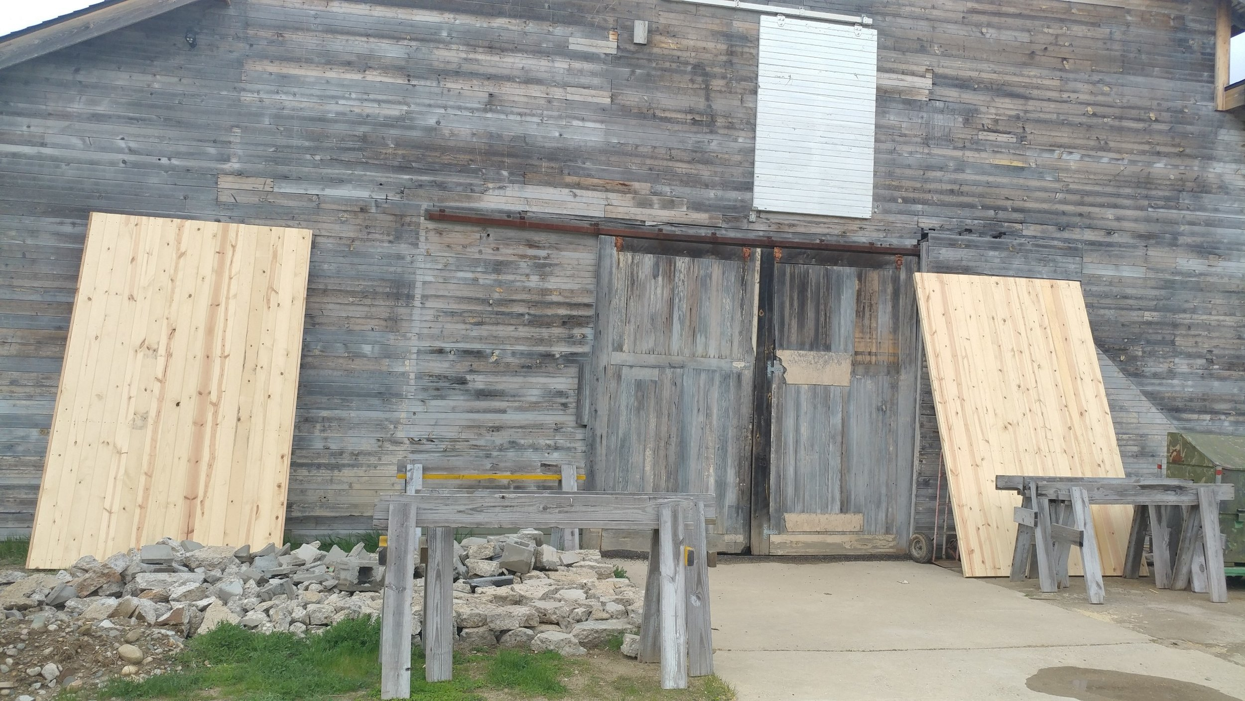 Above: 2 GIANT new rear doors for the Edsel Ford Barn