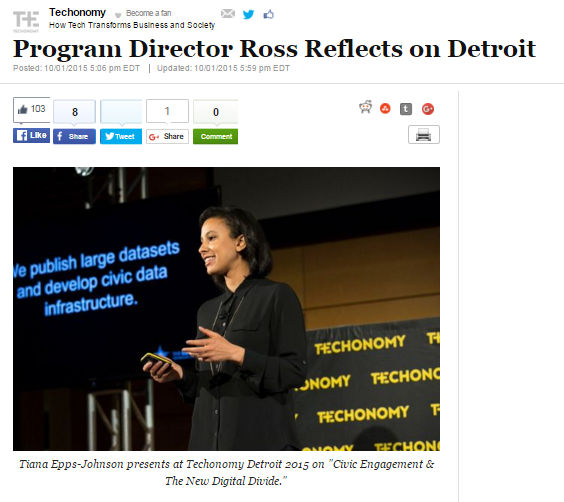 Screenshot from Huffington Post story about Techonomy featuring picture of Tiana presenting her slides