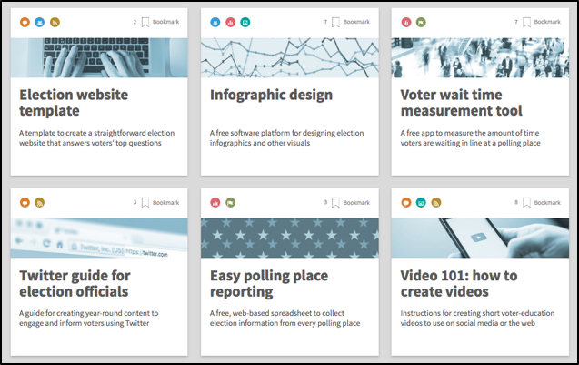 You can bookmark and sort tools on the Election Toolkit website homepage