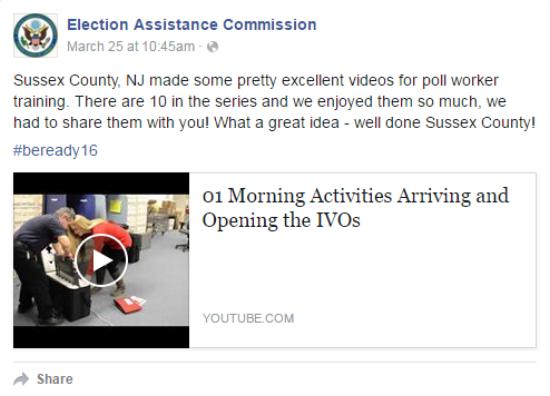 EAC Facebook post praising Sussex County's training videos