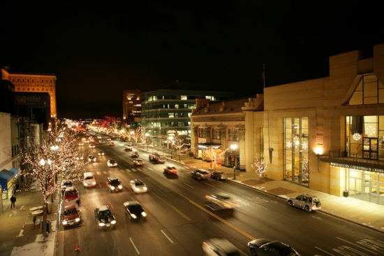 Downtown Ogden, Utah at night. Photo by Kevin Dilley.