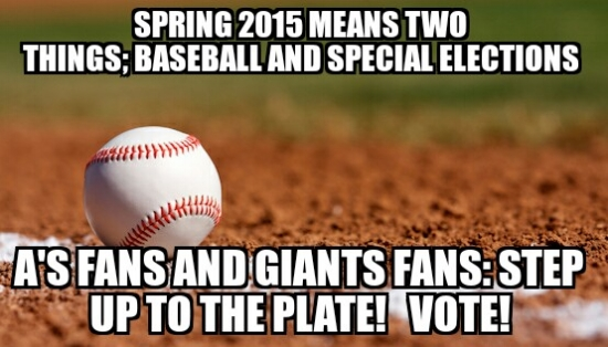 Facebook meme tying local elections to baseball season created by Contra Costa election staff. Photo courtesy of Paul Burgarino and Contra Costa County.