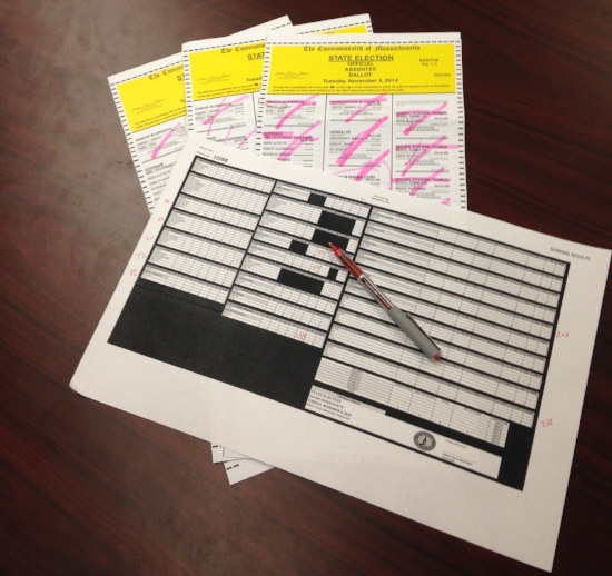 A printed Excel spreadsheet with sample ballots. Photo courtesy of Jeremy Gillis.