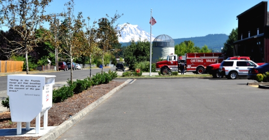 A ballot drop box located at a fire station in Orting, Washington. Photo by Whitney Rhodes.