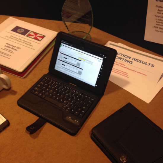 A Google spreadsheet on a Kindle screen. Photo courtesy of Loudon County Office of Elections.