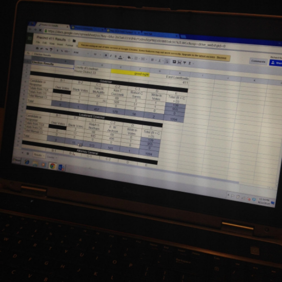 Closeup showing spreadsheet format on a Kindle screen. Photo courtesy of Loudon County Office of Elections.