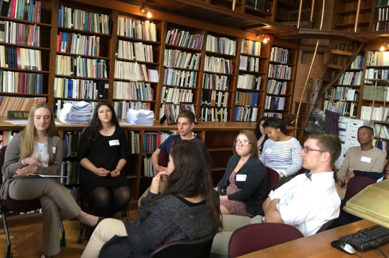 The Rhode Island Department of State's Civic Fellows discuss outreach ideas. Photo by Joe Graziano.