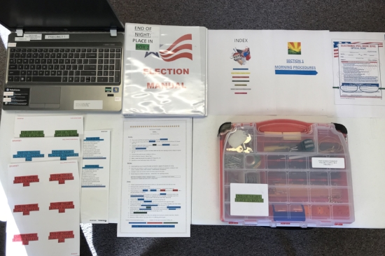 A sampling of Port Huron Township's color-coded training materials. Photo Courtesy of the Port Huron Township Clerk.