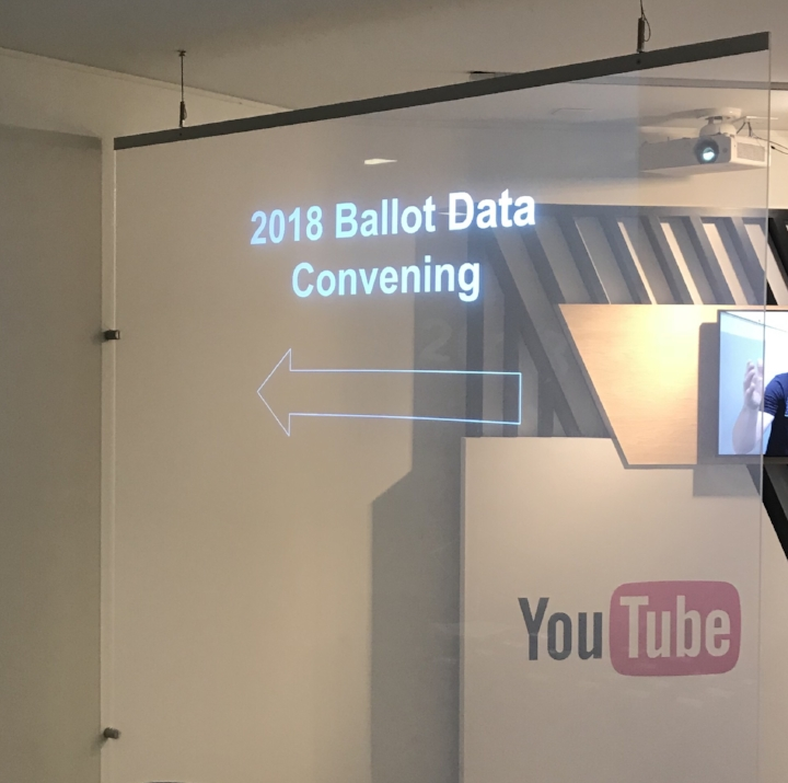 Illuminated sign directing attendees to the 2018 Ballot Data Convening at Google DC