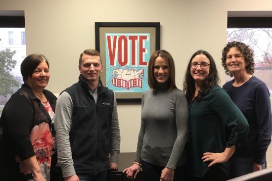 Cape Girardeau County's election team. L-R: Kathy Friedrich, Allen Seabaugh, Kara Clark Summers, Shu Siebert, and Sherri LoMedico. Photo courtesy of the Cape Girardeau County Clerk's office.