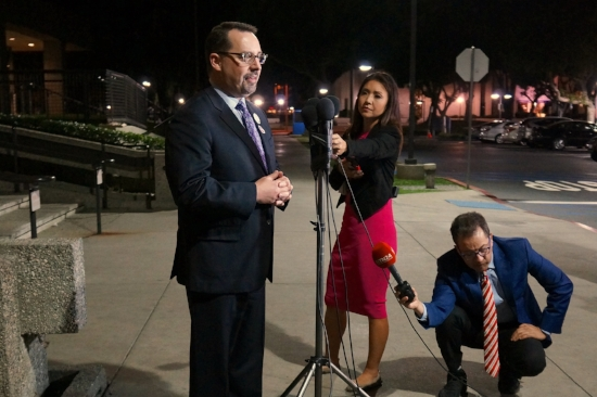 Registrar of Voters Dean Logan addresses the media on election night in June. Photo courtesy of the LA County RR/CC.