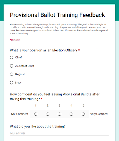 Screenshot from Arlington's post-training feedback form. Photo courtesy of the Arlington Elections department.