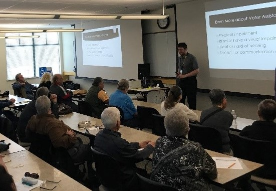 Poll workers learning about accessibility in an APPLE class. Photo courtesy of Contra Costa Elections.