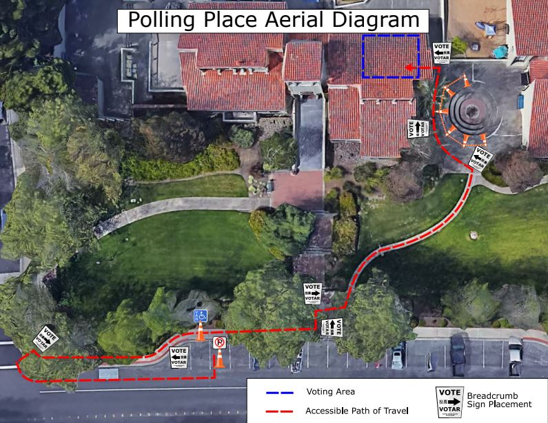 Aerial map of a polling place, annotated with accessibility modifications. Photo courtesy of Contra Costa Elections.