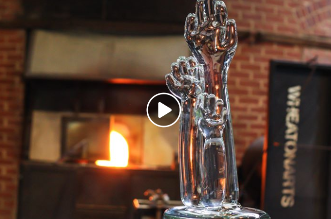 Video of WheatonArts creating the glassblown Trophy.