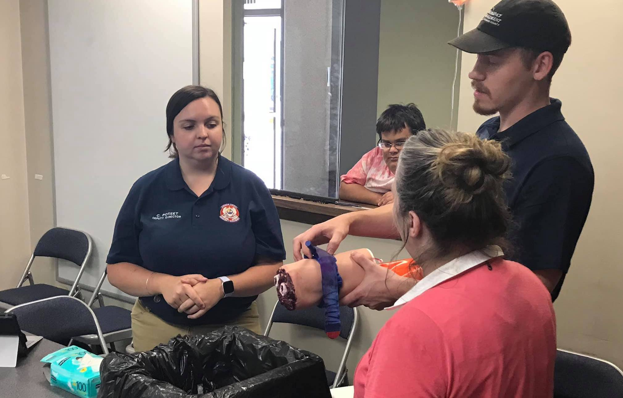 "A ""Stop the Bleed"" class taught by Johnson County Emergency Management Agency."