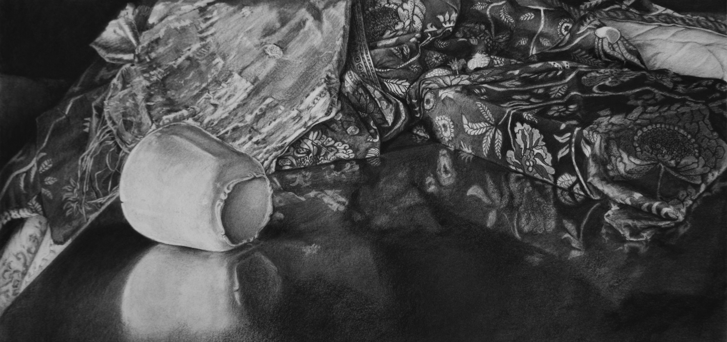 "porcelain, cotton print and silk on lacquered wood, charcoal on paper, 19"" x 40"""
