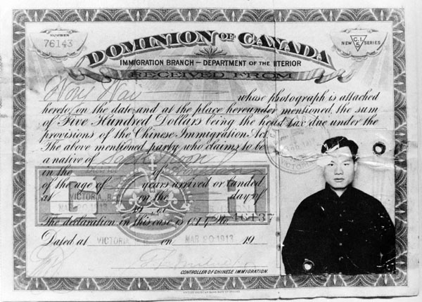 Chinese Head Tax Certificate, Victoria, BC, 1913