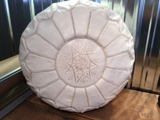 White leather pouf