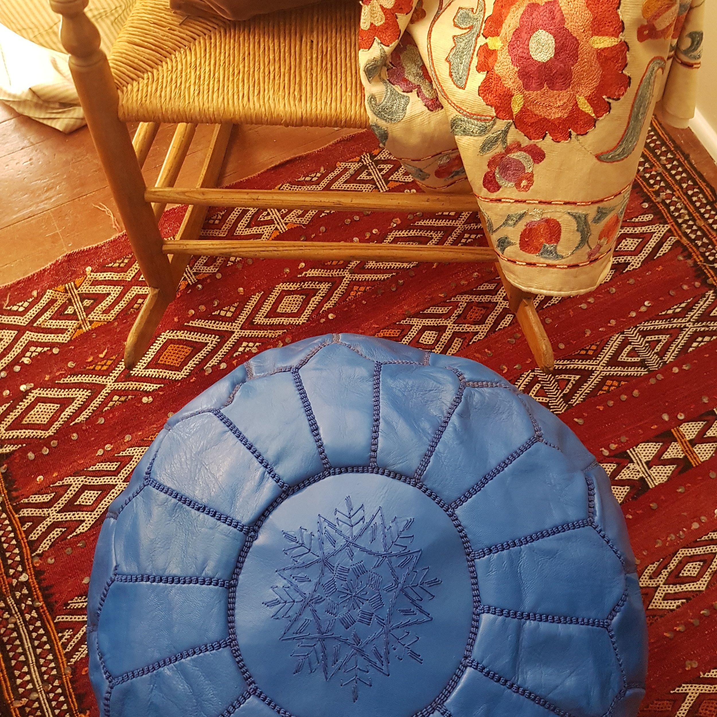 Royal blue leather pouf