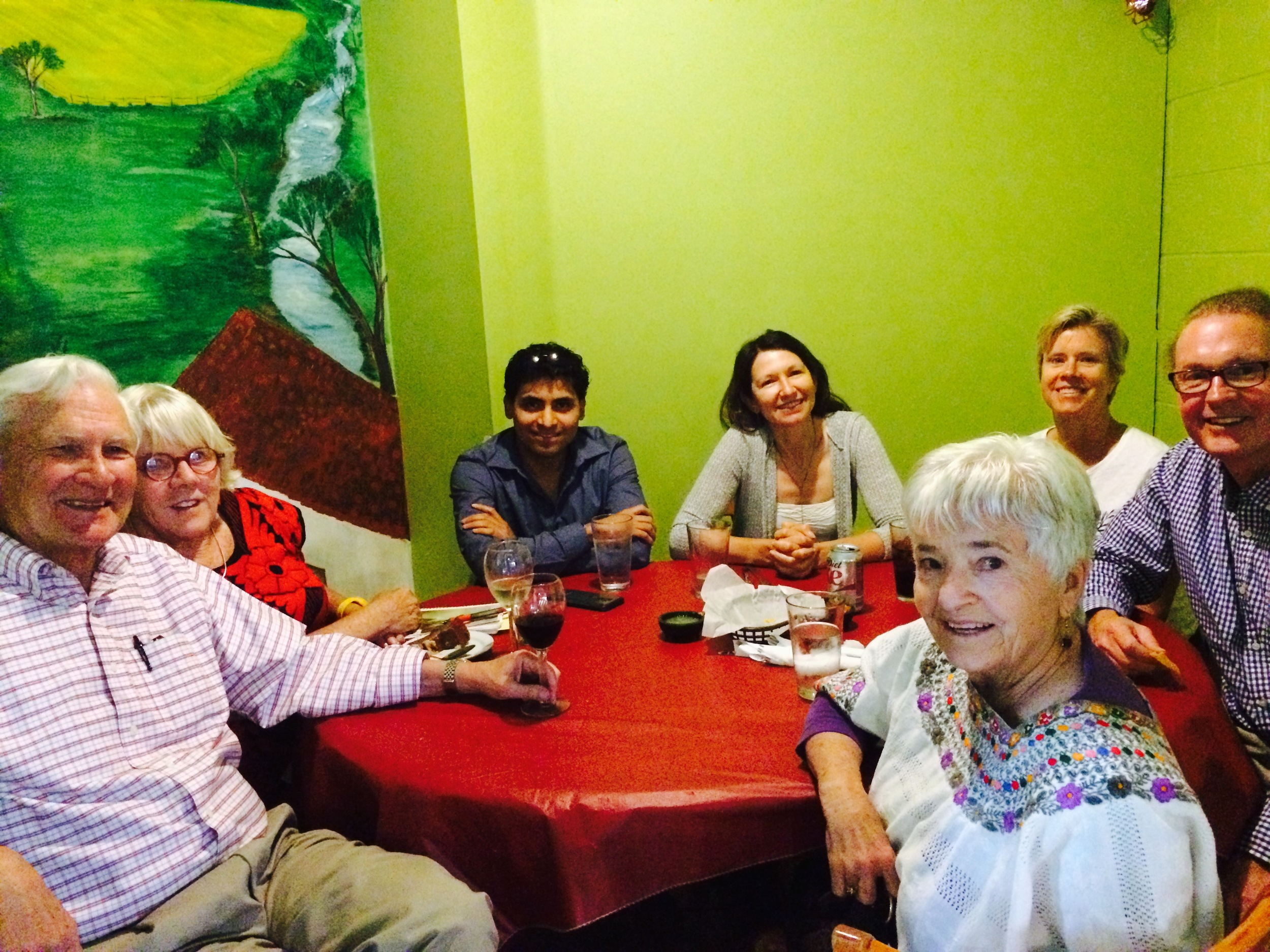 "Our Spanish Intermediate group goes to a Salvadorian restaurant to practice speaking in a ""real-world"" setting. Wine and Papusas were a nice bonus."