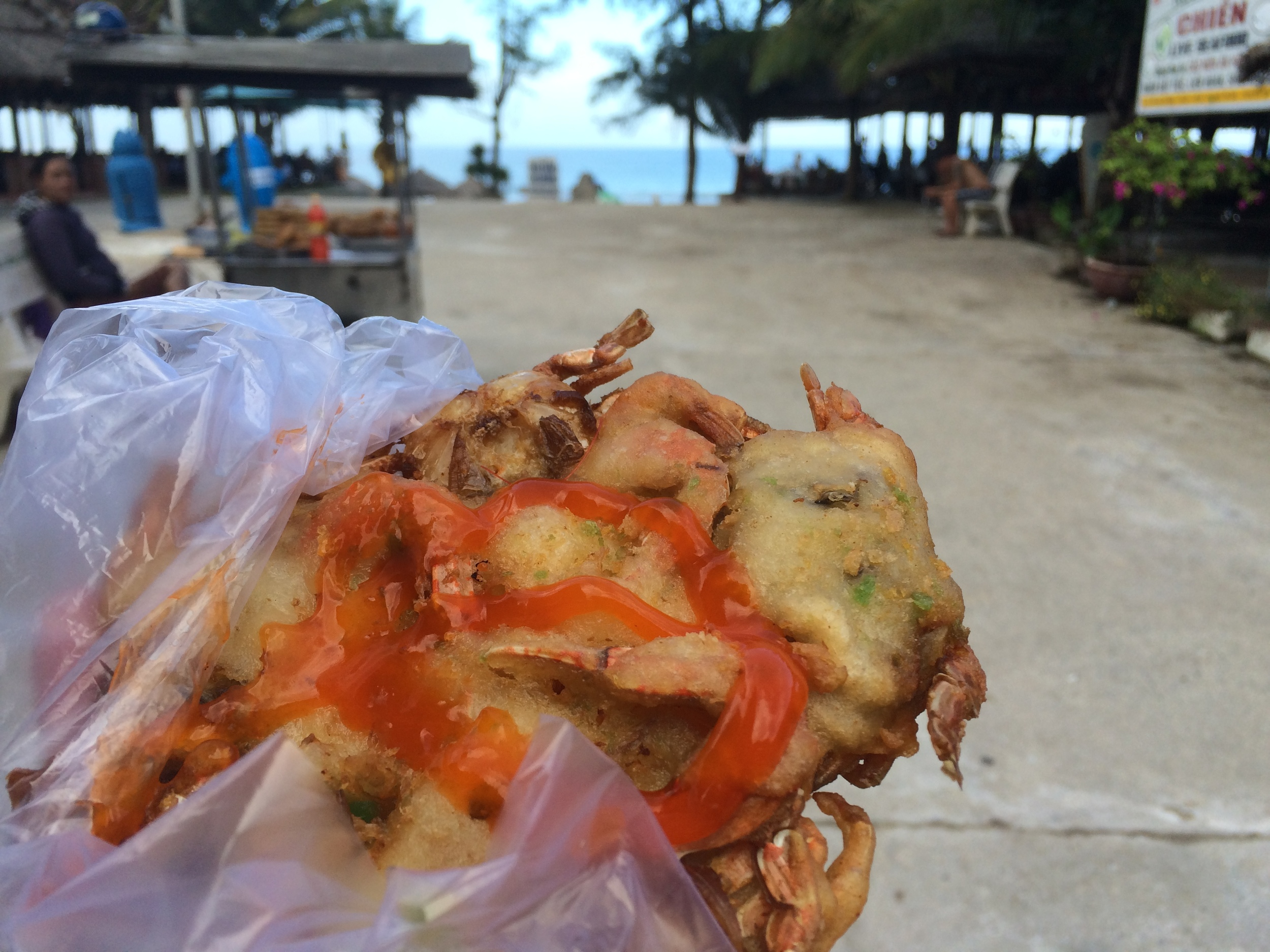 Deep fried crab pancake... you can see an entire crab on the right, + claws