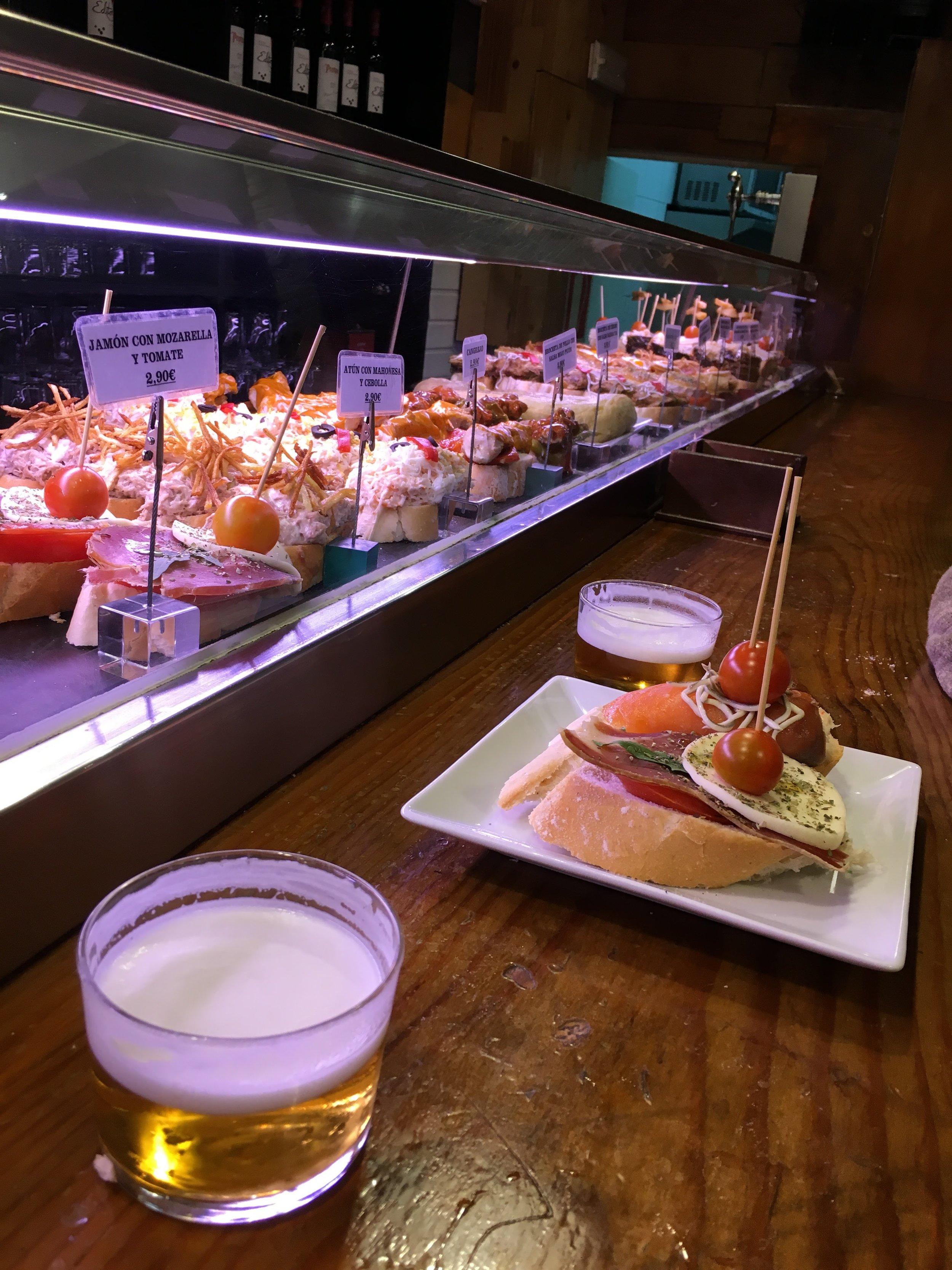 Basque-style seafood pinxtos