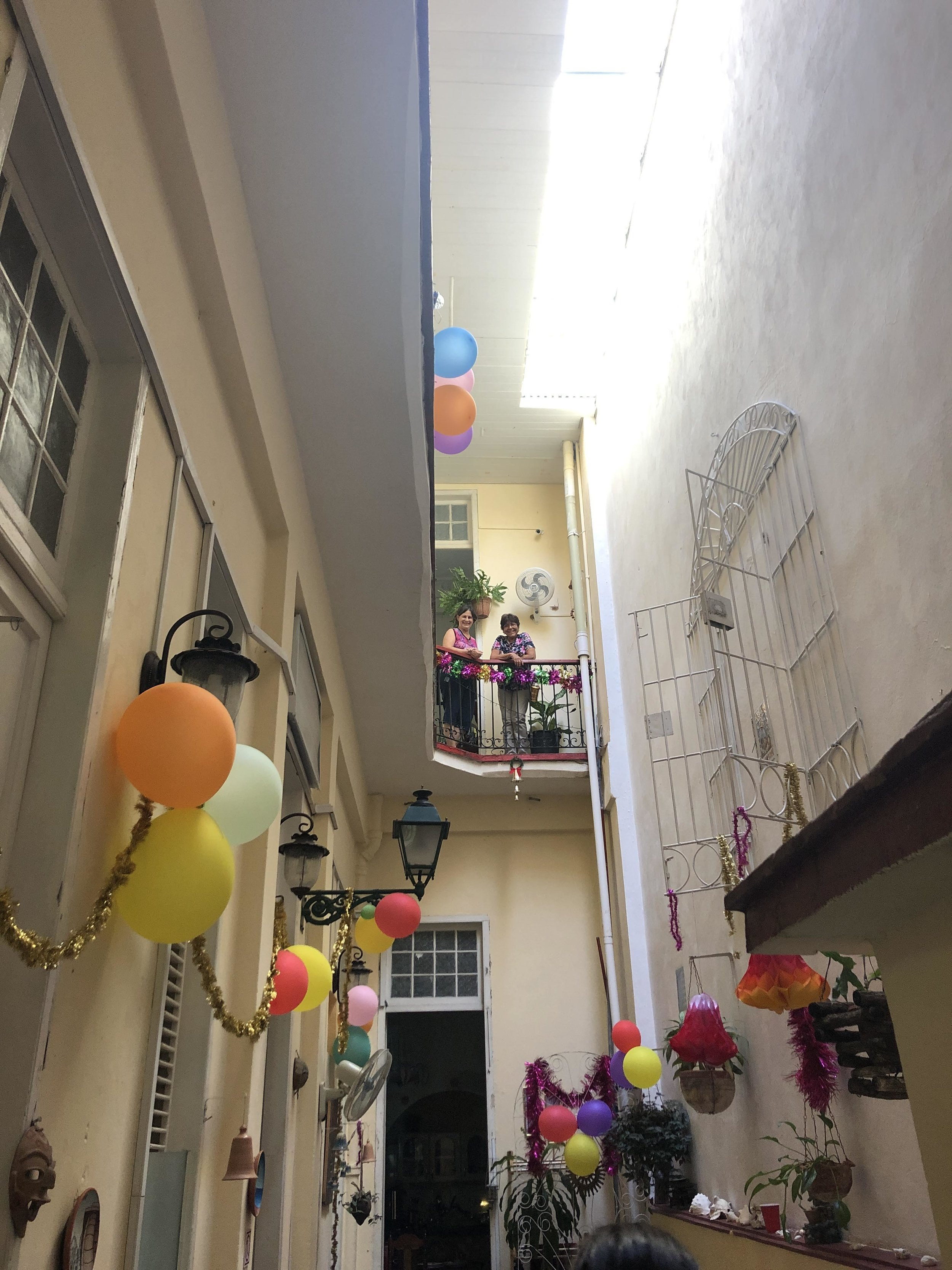 The charming women who ran our casa, decorated for a New Years party