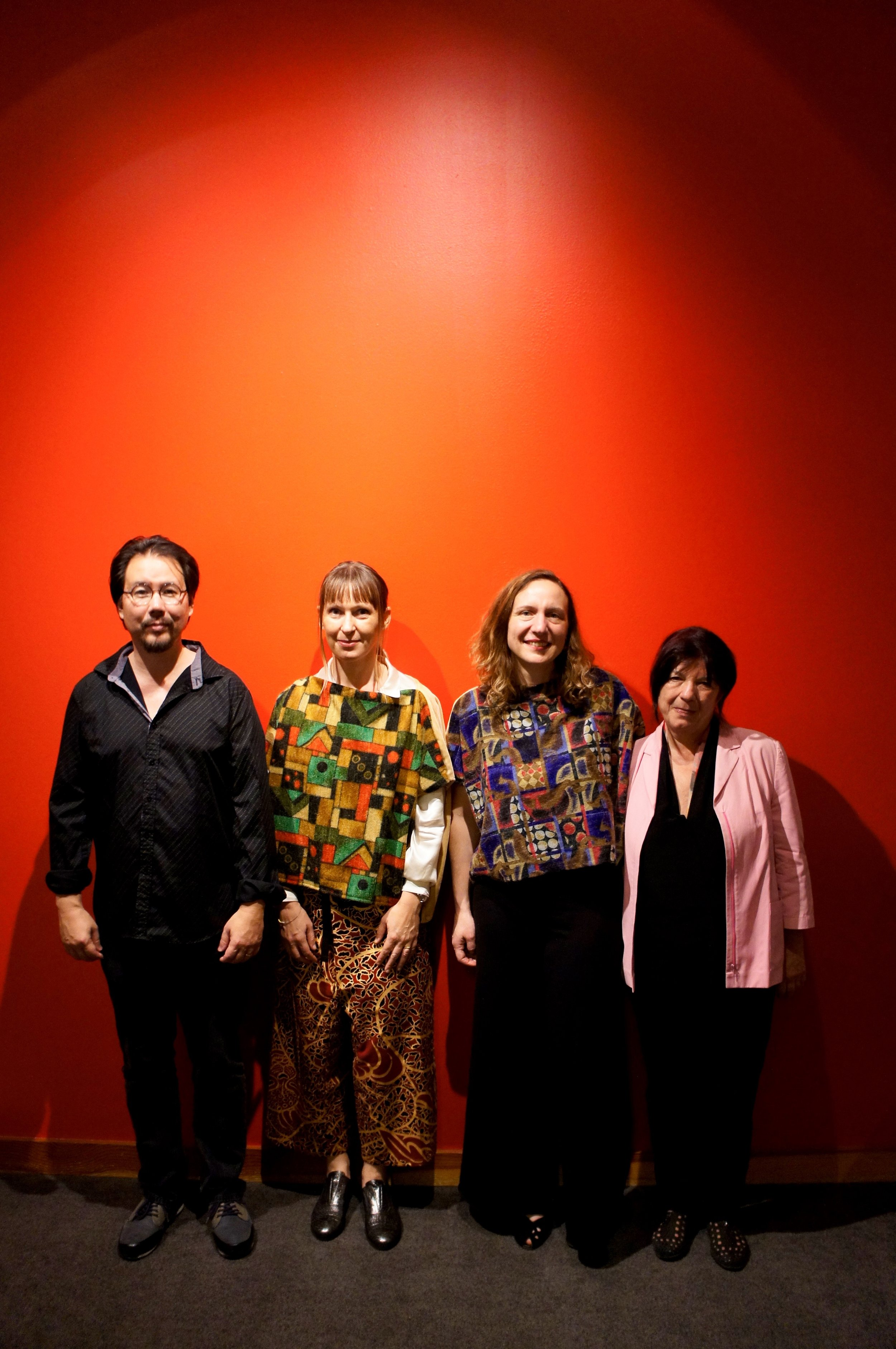 from left to right: eyvind kang, silvia tarozzi (in green block cloth shirt), deborah walker (in blue block cloth shirt), pascale criton