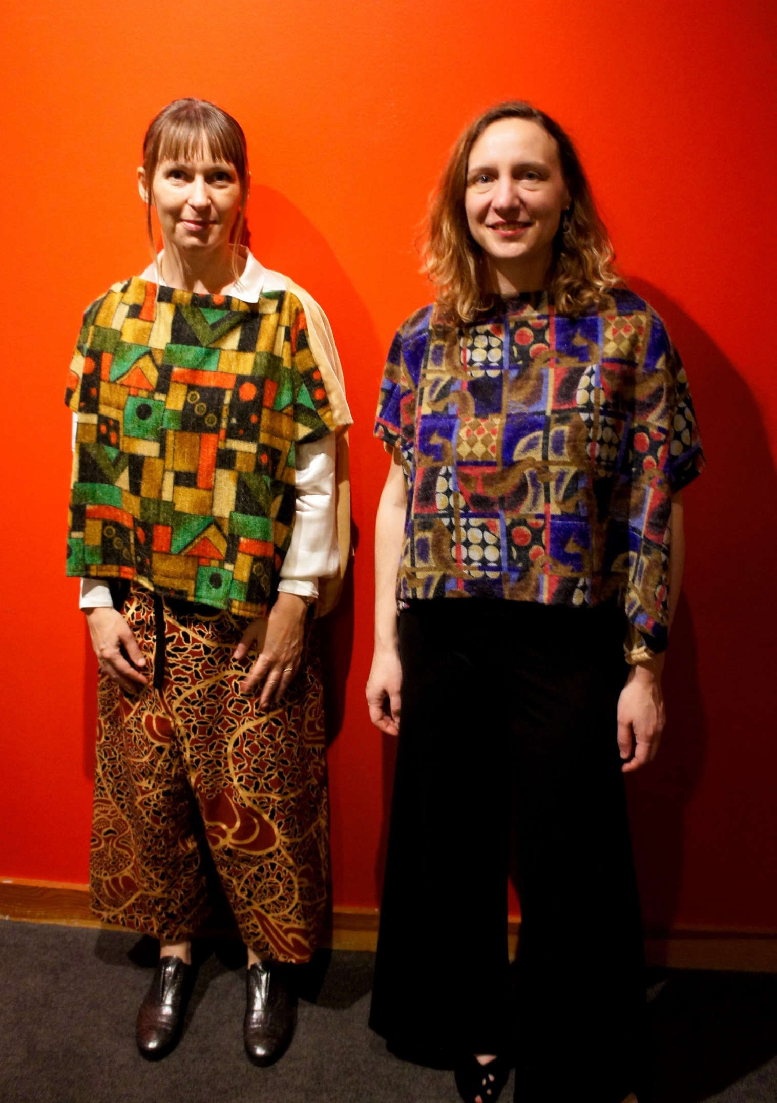silvia tarozzi & deborah walker in tsiimade block cloth shirts at their recent REDCAT show in LA.
