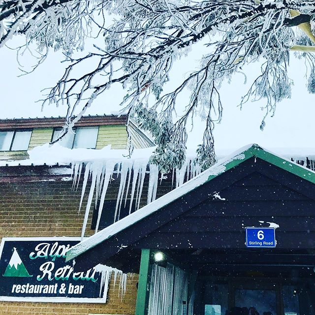 Winter is here! Check out them icicles #brrr #icy #snow #aussiesnow #mtbuller