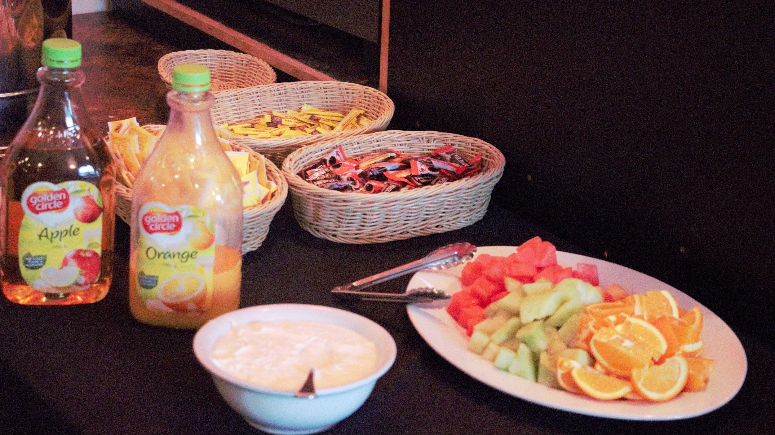 continental breakfast at alpine retreat yogurt and fruit.jpg