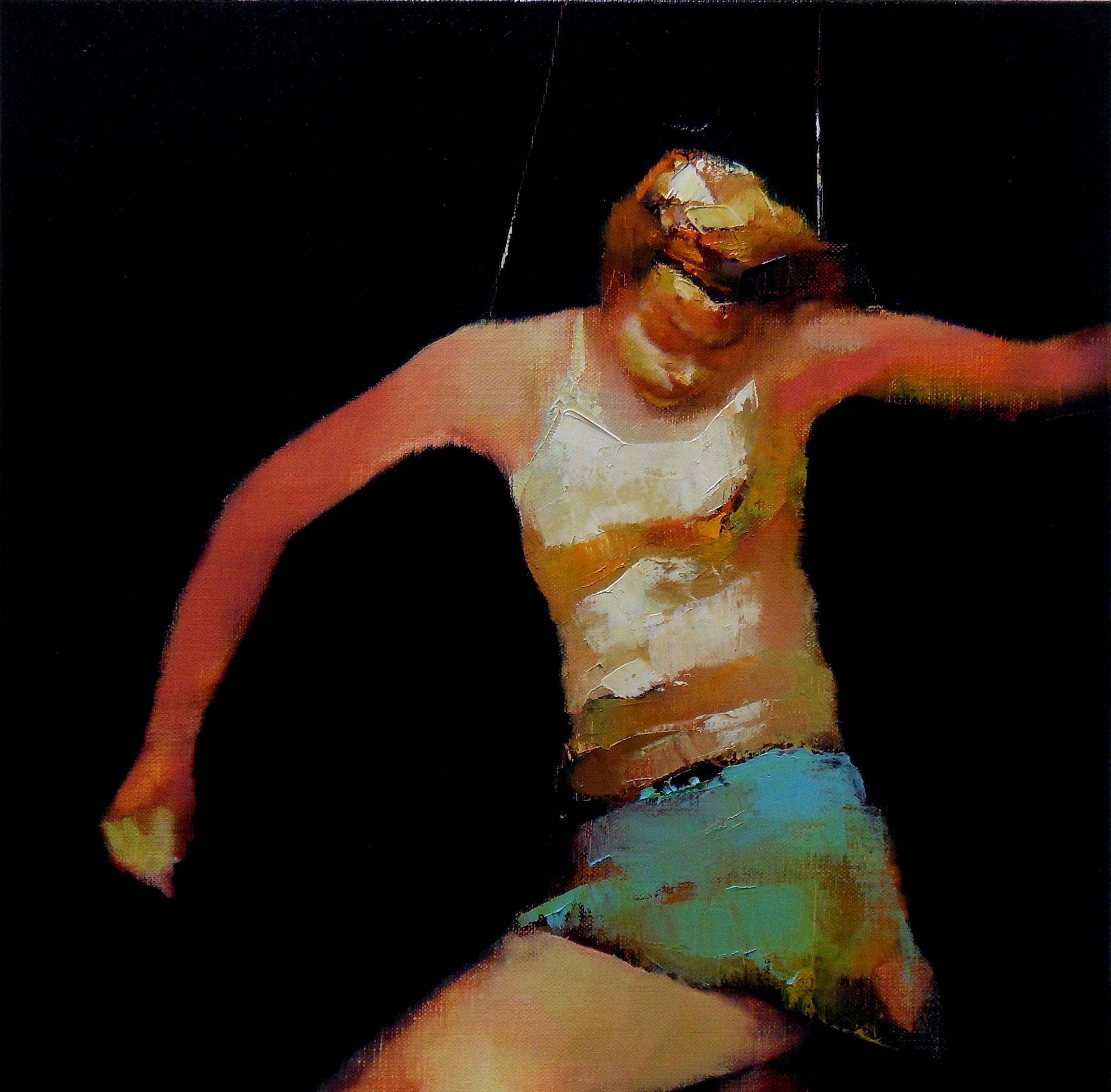 Paul W Ruiz , Recasting Therese oil on linen, 36 x 36 cm