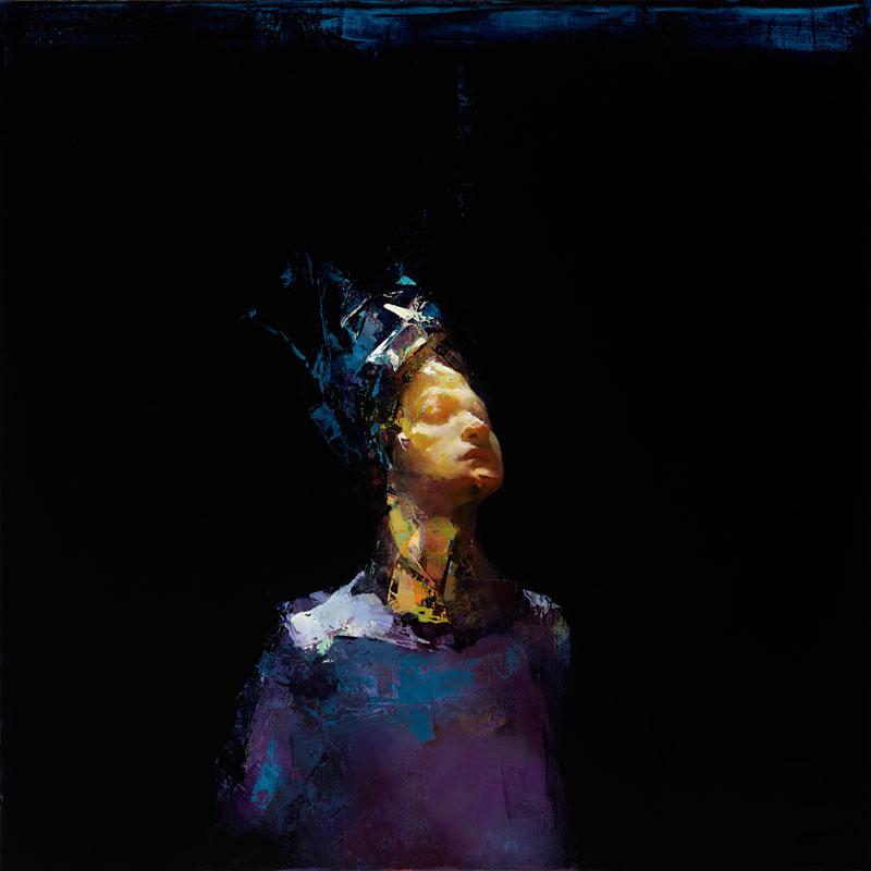 Paul W Ruiz , Blue jester oil on linen, 51 x 51 cm