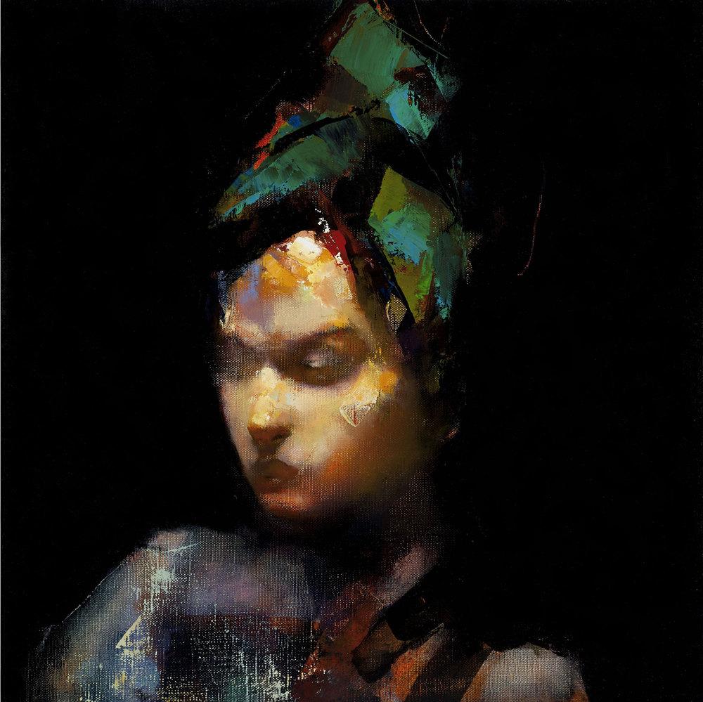 Paul W Ruiz , Head of a girl oil on linen