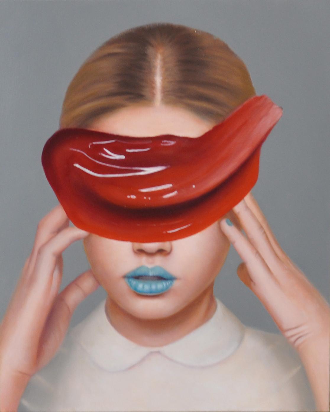 Eugenia Raftopoulos , Feminine Masquerade Oil on linen, 40 x 50 cm, available