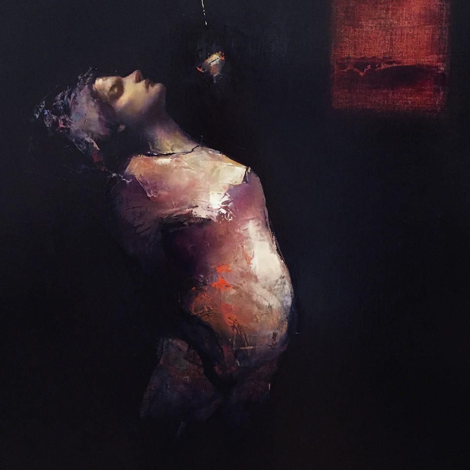 Paul W Ruiz ,Indigo's Arc 2016 (detail) oil on linen, 71 x 71 cm study after Baldessin's 'Performance (Variation 2)' 1971