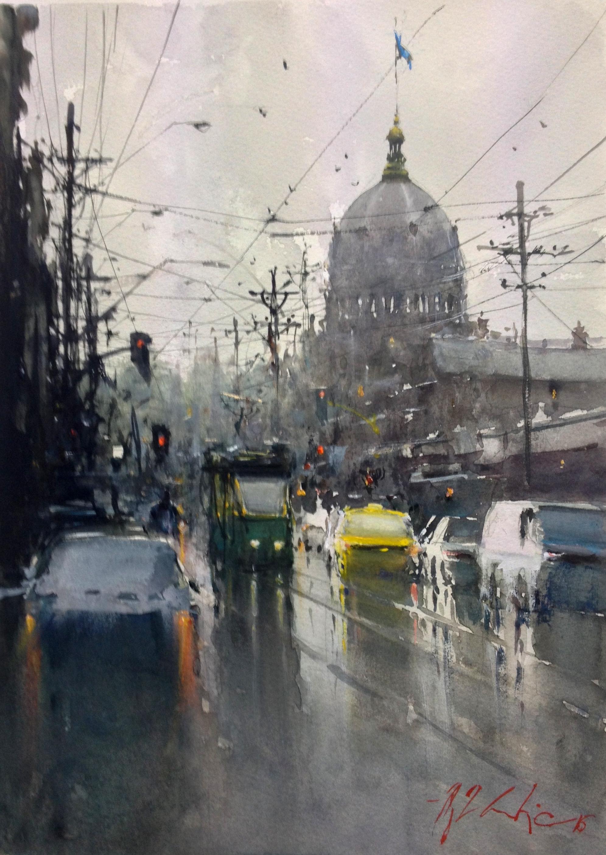 Joseph Zbukvic, Gertrude Street 2   Watercolour, framed, available